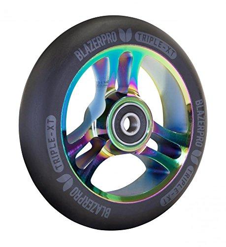 Blazer Pro Triple XT 100/110 mm aleación Core Scooter Rueda, Black/Neochrome, 110 mm