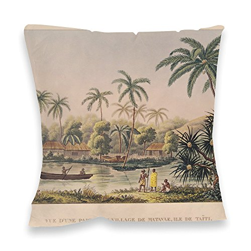 village-of-matavae-tahiti-illustration-40x40cm-premium-feather-filled-faux-suede-cushion-art247