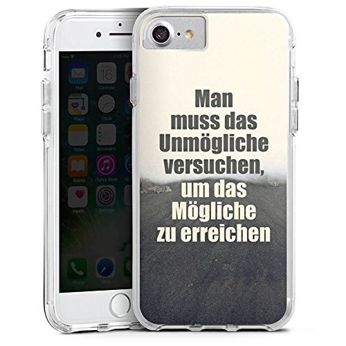 Apple iPhone 7 Bumper Hülle Bumper Case Glitzer Hülle Traeume Dreams Weg Bumper Case transparent