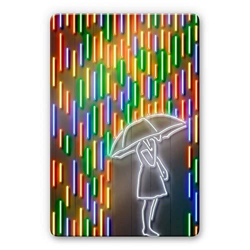Glasbild Mielu - Rain Kunstdruck Illustration Regen Regenschirm Neonlicht Look Optik bunt Pop Art mit Wandhalterung Wall-Art - 60x80 cm