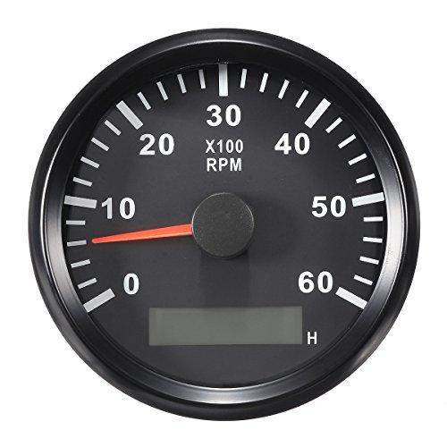 Preisvergleich Produktbild JenNiFer 12 / 24V 0-6000 RPM 85Mm LCD Marine Meter Tachometer Betriebsstundenzähler Schwarz