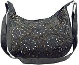 Guru-Shop Schultertasche mit Nieten Bali, Herren/Damen, Grau, Kunstfaser, Size:One Size, 27x36 cm, Alternative Umhängetasche, Handtasche aus Stoff