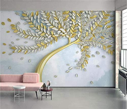 Carta Da Parati In Tessuto Non Tessuto - Parete dorata del fondo di modo dell\'albero impressa Moderna Fotomurali 3D Immagini Da Parete