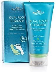 Belle Azul 2-in-1 Anti-Hornhaut Fußpflege – Innovative Hilfe bei Hornhaut mit integriertem Bimsstein. Natürliches Fußpeeling mit pflegendem Arganöl, antibakteriellem Teebaumöl und Pfefferminz gegen trockene, rissige Haut. Für alle Hauttypen geeignet ✔ Ohne Paraben und Phthalate ✔ Vegan ✔ 150ml