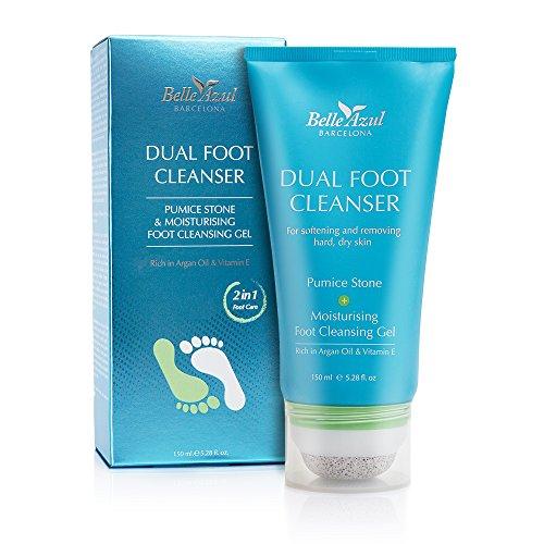 Belle Azul Soin Pieds secs et Abîmés, Exfoliant 2 en 1 pour les Pieds, Pierre Ponce incluse, Anti Odeurs ✔ Hydratant ✔ Vegan ✔ 150 ml