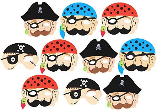 com-four® 10 Piratenmasken für Kinder und Erwachsene mit Gummizugband (10 Stück - - Luzifer Für Erwachsenen Kostüm