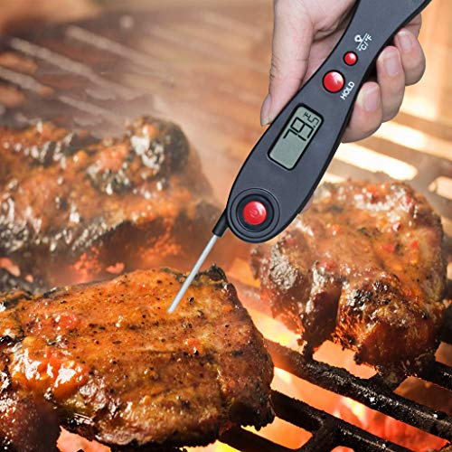 TeasyDay BBQ Fleischthermometer Digital Cooking Tool, Küche Elektronische Kochutensilien Sonde, Hohe Qualität ABS 304 Edelstahl, einfach zu bedienen, Falten 15,7x3,6x2 cm/Erweitern 26x3,6x2 cm