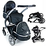 iSafe Tandem Pram me&you - 2 Tone Black (Black) With Car Seat (Baby Product)