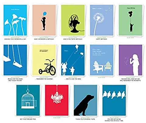 Assorted Silhouettes Premium Greeting Cards - Bulk Set of 14 Cards Including: Birthday, Thank You, Sympathy, Inspiration and