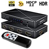 Sgeyr 4x1 HDMI Switch 2.0 New 4K Ultra HD 4 port HDMI switcher 4 in 1 out con telecomando IR, supporta UHD 4K@60Hz HDR 3D 1080p HDCP 2.2 pass-through