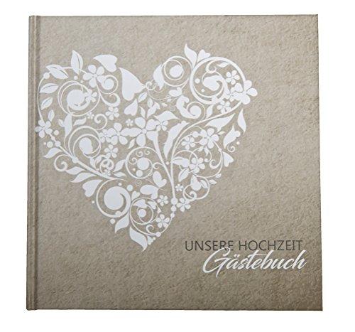Gästebuch Vintage Hochzeit Spitze Hardcover Quadrat Creme Beige Boho Fotobox/Photobooth