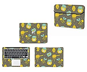 Theskinmantra 4 in 1 Combo : Laptop sleeve and Full Body Laptop skin for Apple Macbook Pro 15 Retina
