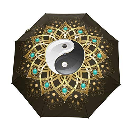 WowPrint Winddichter kompakter Regenschirm, Tribal Tai Chi Mandala Auto Tragbar Leichter Reise-Regenschirm für einfaches Tragen
