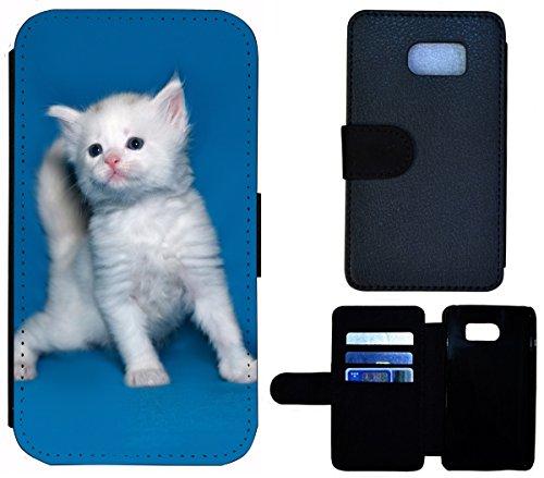 Flip Cover Schutz Hülle Handy Tasche Etui Case für (Apple iPhone 6 / 6s, 1549 Mops Welpe Hund Pink Braun) 1556 Katze Kätzchen Weiß Blau Süß