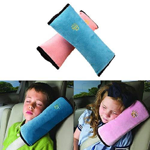 2 Stück Gurtpolster Schlafkissen Nackenstütze für Kinder, Auto Sicherheitsgurt Autositz Kopfkissen Gürtel Pillow Schulterschutz (Blau & Rosa) -