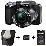 Olympus SP-820UZ - Black + Case +16GB Card + 4xAA Battery and Charger (14MP, 40x Wide Optical Zoom) 3 inch LCD Screen