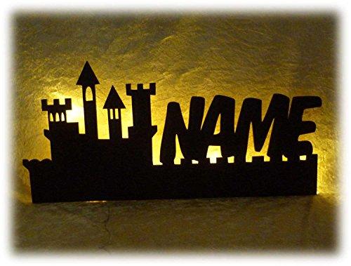 Schlummerlicht24 Led Ritterburg mit Name Ritter Geschenke für Kinder und Erwachsene im Kinderzimmer Wohnzimmer