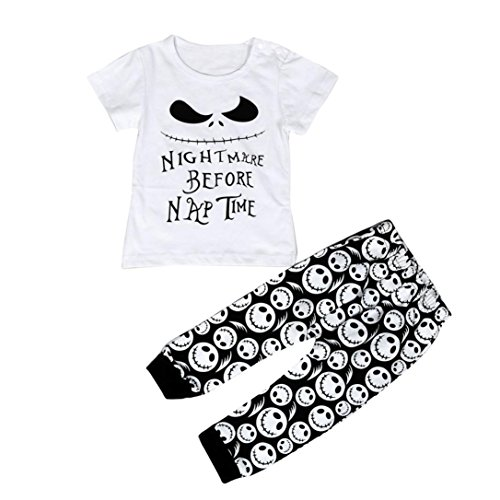 Kolylong Infant Toddler Baby Boys Cartoon letter Print T-shirt Tops+Pants Outfits Clothes+ 1 Eyebrow Brush