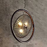 Pumpink Retro Industry Wrought Iron Openwork Adjustable Pendant Lights Creative Personality Loft Ceiling Lamp Hanging Light American Country Art Fan Chandelier For Bar Study Farmhouse