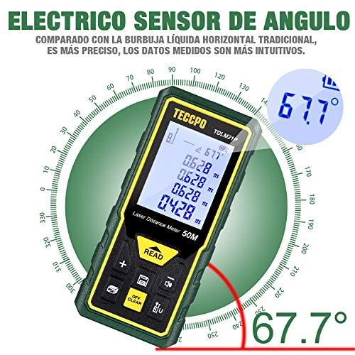 Telémetro láser 50M, TECCPO Medidor Láser Nivel Electrónico, m/in/ft /ft+in, Función de Silencio, 30 Almacenamiento de Datos, Distancia, área, Volumen de Pythagore, ángulo, IP54, TDLM21P