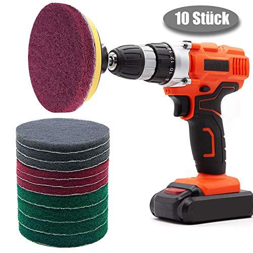 Bohrmaschine Scheuerschwämme Reinigung Kit 10 Stück 4 inch Scrubber Pads für Fliesen, Glas, Porzellan, Duschen, Badewannen und Waschbecken