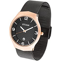 OTUMM Men's Quartz Watch with Rose Gold, Black - XL Slim 41 mm Analogue Quartz Stainless Steel 07250
