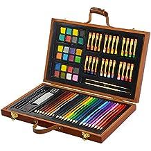 Conjunto Arte CONDA Deluxe en Maletín de Madera Para Niños o Adultos -Set Material Escolar – 79 piezas, incluye lápices de colores, pasteles de óleo, acuarelas, pinceles para pintar