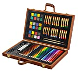 79Pc Deluxe Wood Art Set for Kids in Wooden Box for Beginners Or Budding Artists Kids Adults (79pcs)
