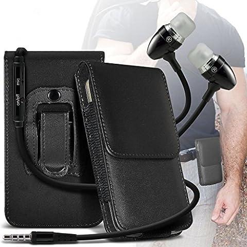 Caso (Nero) Huawei P8 Lite (PU) cinghia di cuoio del sacchetto della clip caso di vibrazione per armi della copertura con il tasto + alluminio auricolari magnetici da i-Tronixs