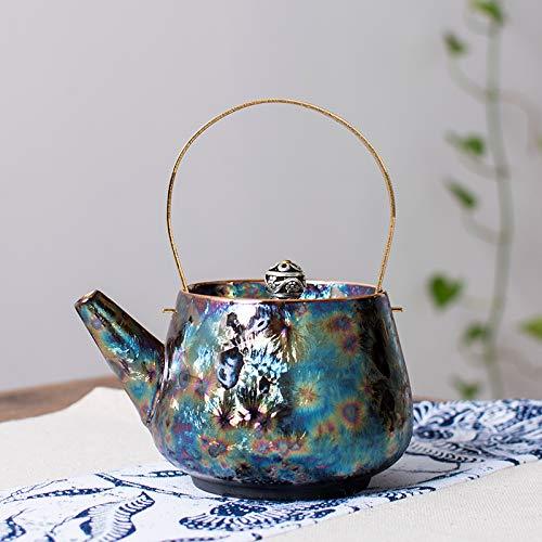 Porzellan Teekanne Keramik Teekanne blau weiß Porzellan antik handbemalt Jingdezhen Keramik Indigo Glasur Eiskratzer Strahltopf 1 Sonnenblumenkopf