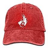 Brilliancye Westerngitarre-1 Vintage Jeans Baseballmütze Baseball Cap für Damen und Herren Einheitsgröße Rot