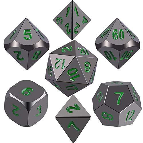 SIQUK Metall Polyhedral 7-Würfel-Set, glänzend schwarz Lackiert und dunkelgrüne Zahlen Zink-Legierung Würfel mit Metallgehäuse für Dungeons und Dragons RPG Dice Gaming