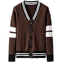 Men's Sweater Cardigan Casual Knit Single-Breasted Jacket Stripe Button Long Sleeve Jacket Outwear Tops,Coffee,XXX-Large