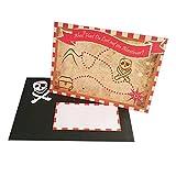 Einladungskarte 'Schatzkarte' - 5 Einladungen zur Piratenparty und Kindergeburtstag inkl. Onlinevorlage zum Bedrucken