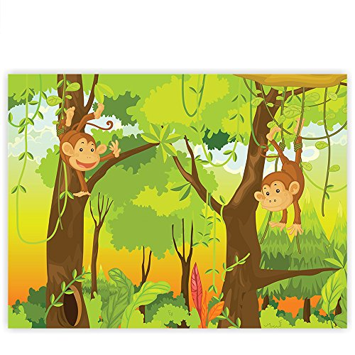 Leinwandbild 100x75 cm PREMIUM Leinwand Bild - Wandbild Kunstdruck Wanddeko Wand Canvas - JUNGLE ANIMALS MONKEYS - Kinderzimmer Kindertapete Comic Affen Dschungel Äffchen - no. 094