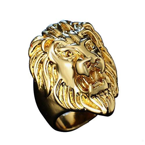 UINGKID Schmuck Ring Löwe-Kopf der Weinlese-Edelstahlringe der Männer Schwermetallrock-Art (Filz Elfen Schuhe)