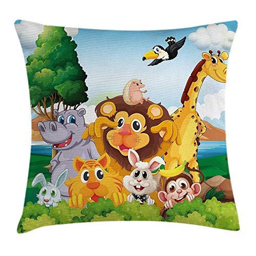 shizh Dekokissen KissenbezugKarikatur-Art-Gruppe Tiere nahe dem Fluss in Forest Lion Giraffe Rabbit Illustration Pillowcase 45x45cm (Große Giraffe-kissen-haustier)