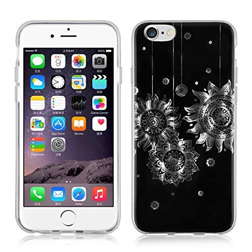 JAMMYLIZARD   Coque souple effet 3D pour iPhone 6 6s, écran 4.7 pouces, Motif baroque Noir et Argent NOIR & ARGENT- SOLEILS