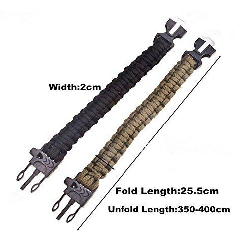 Pack von Zwei Überlebens-Armbänder Paracord Whistle Gear Schaber und Feuersteinstab Kits Outdoor (schwarz & Armee Grün) - 4