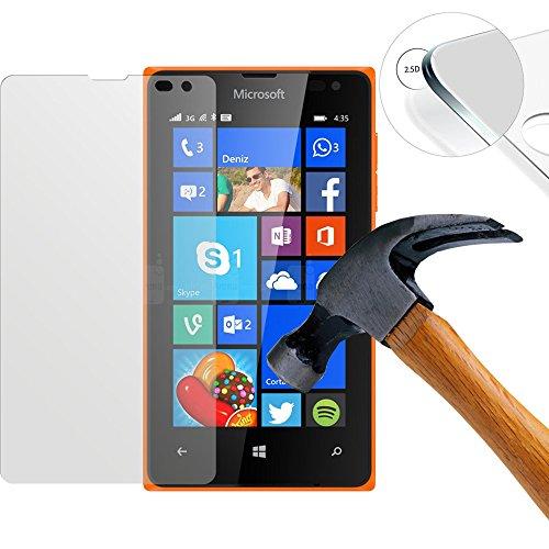 Lusee 2 X Pack Panzerglasfolie Tempered Glass Hartglas Schutzfolie für Nokia Microsoft Lumia 435 Folie Protector Bildschirmschutz 0,3mm 9H 2.5D (Nur den flachen Teil abdecken)