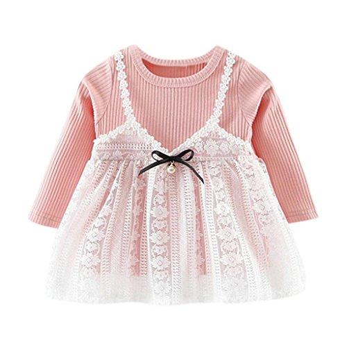 Longra Herbst Kleinkind Baby Mädchen Spitzekleid Solid Bowknot Nette Stickkleid Outfits Kleider Set Baby Langarm Prinzessin Kleid(0-18Monate) (70CM 3Monate, Pink)