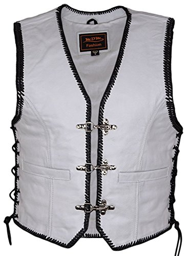 Lederweste Bikerweste Kutte schwarz mit schwarz//weißer Kordel Reißverschluss