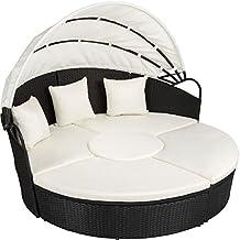 tectake canap de jardin chaise longue bain de soleil en aluminium et rsine tresse avec toit - Lit De Jardin