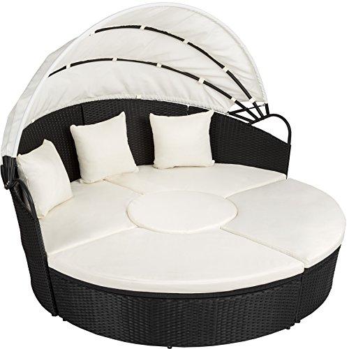 TecTake Canapé de jardin chaise longue bain de soleil en aluminium et résine tressée avec toit dépliable |...