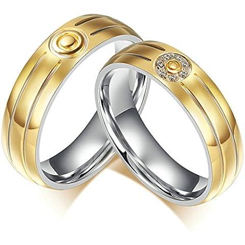 Alimab gioielli anelli donne inox in acciaio liscio Vortex Banda nozze
