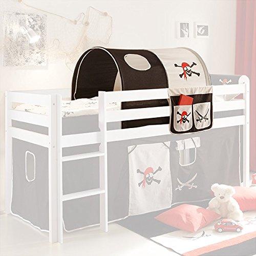 Tunnel + Bett-Tasche Pirat 100% Baumwolle Stofftasche Baldachin Dach Bettdach Himmel für Hochbett Spielbett Etagenbett Kinderbett Kinderzimme