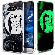 Coque LG G5,Étui LG G5,LG G5 Case,ikasus® Coque LG G5 Silicone Étui Housse Téléphone Couverture TPU lumineuse nocturne lumineux translucide avec Motif peint coloré Ultra Mince Premium Semi Hybrid Crystal Noir Flex Soft Skin Extra Slim TPU Case Coque Housse Étui pour LG G5 - Amoureux de la lune