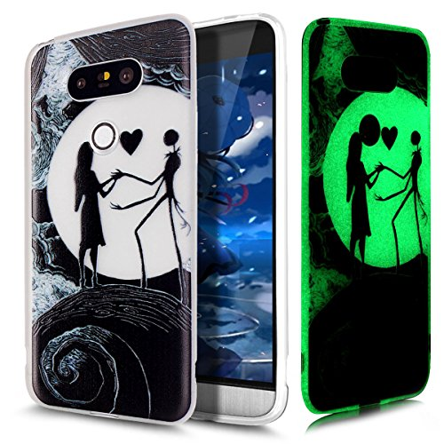 LG G5 Hülle,LG G5 Case,LG G5 Cover,ikasus® TPU Silikon Schutzhülle Case Hülle für LG G5,Beleuchtete Weiche TPU mit Schwarz Gemalte Muster Handyhülle LG G5 Silikon Hülle [Leuchtende Transluzent] Stoßdämpfend Transparent TPU Silikon Schutz Handy Hülle Case Tasche Silikon Crystal Case Durchsichtig Schutzhülle Etui Bumper für LG G5 - Mond Liebhaber