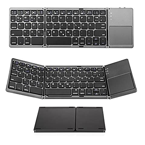 Bluetooth Tastatur mit Touchpad, Jelly Comb Faltbare Tri-fold Dreifach Kabellose Ultra Dünne Ultra-Slim Tragbare Bluetooth 3.0 Tastatur [QWERTZ Deutsch-Layout] mit Touchpad für iOS, Android, Windows, PC, Tablets und Smartphone,