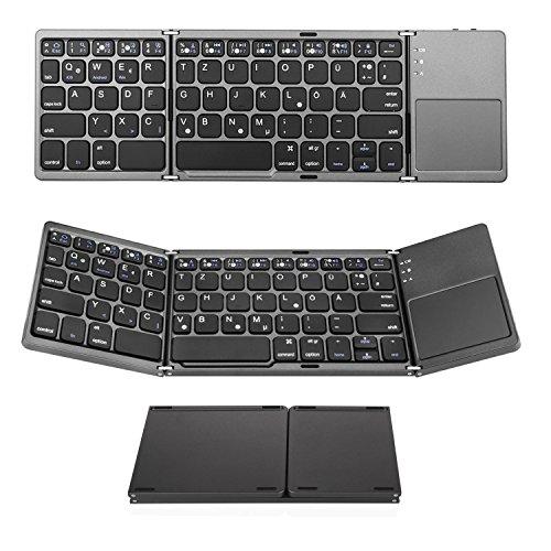 Bluetooth Tastatur mit Touchpad, Jelly Comb Faltbare Tri-fold Dreifach Kabellose Ultra Dünne Ultra-Slim Tragbare Bluetooth 3.0 Tastatur [QWERTZ Deutsch-Layout] mit Touchpad für iOS, Android, Windows, PC, Tablets und Smartphone, Grau